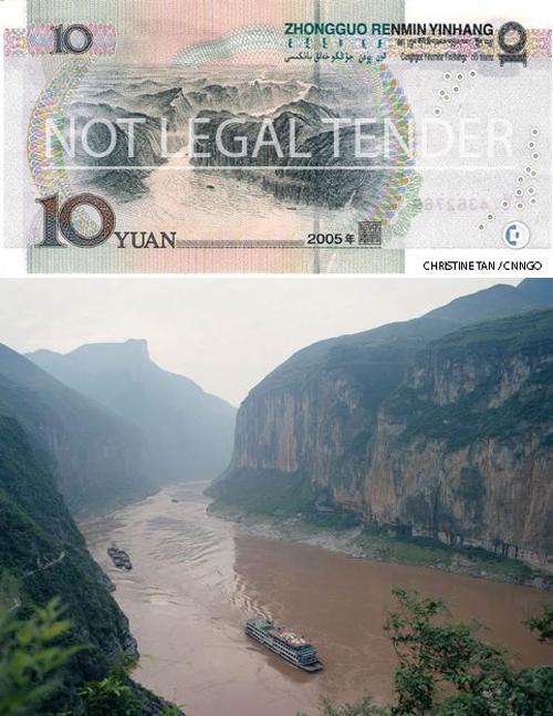 Le tre gole e la banconota da 10 yuan