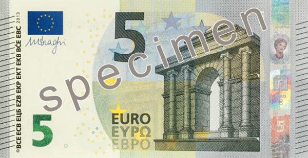 La nuova banconota da 5 euro 2013