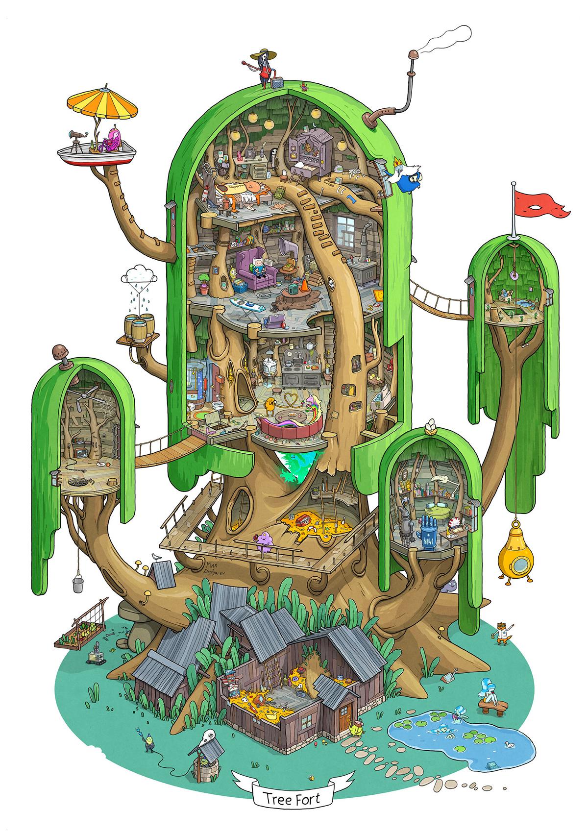 L'albero di Finn e Jake illustrato
