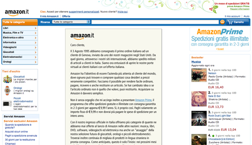 Screenshot di Amazon Italia
