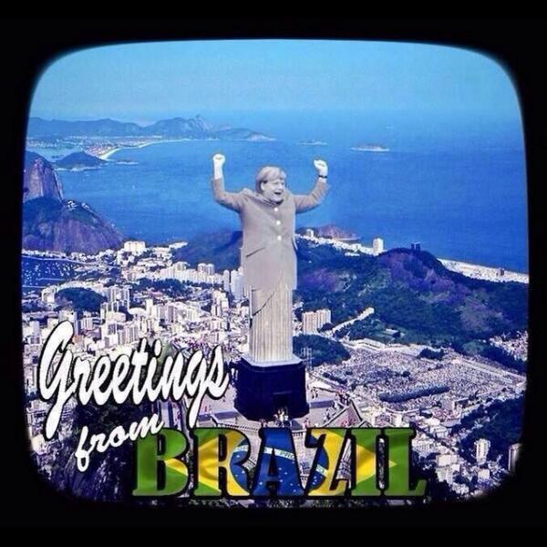 Cartolina del Brasile con Angela Merkel