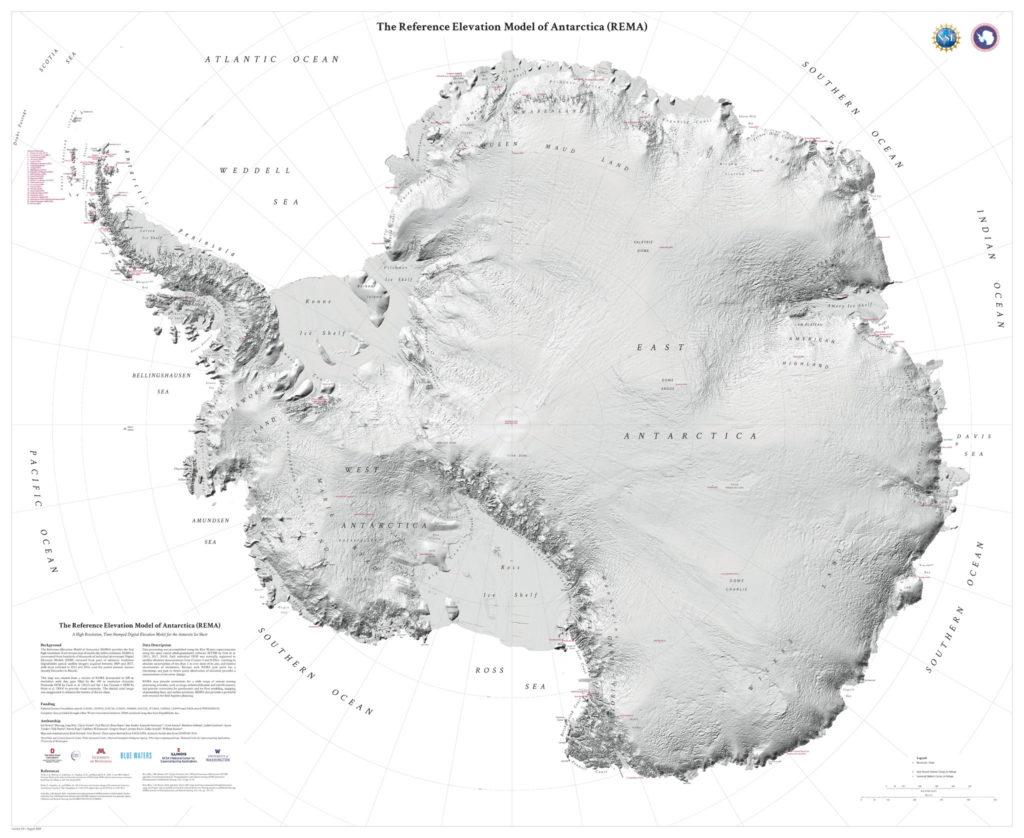 La mappa dell'Antartide REMA
