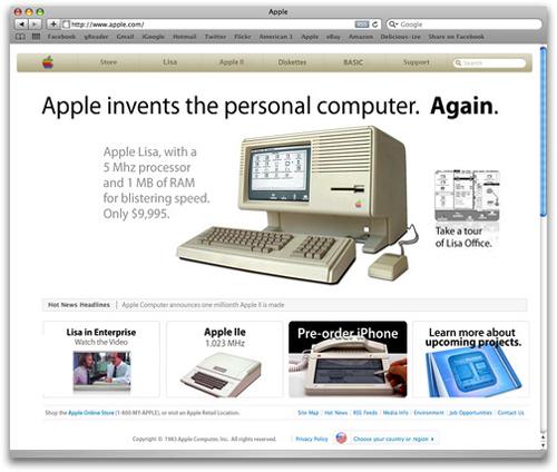 Il sito della Apple nel 1983
