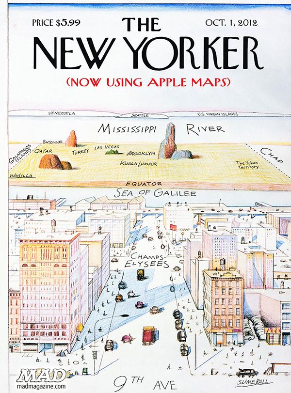 La finta copertina del New Yorker con le mappe di Apple