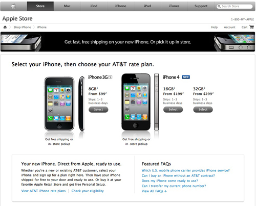 Screenshot di Apple Store