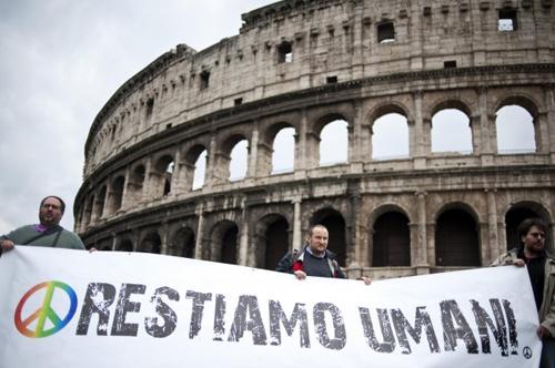 La manifestazione a Roma per ricordare Vittorio Arrigoni