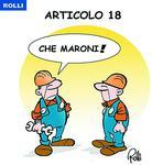 La vignetta de Il Secolo XIX sull'articolo 18