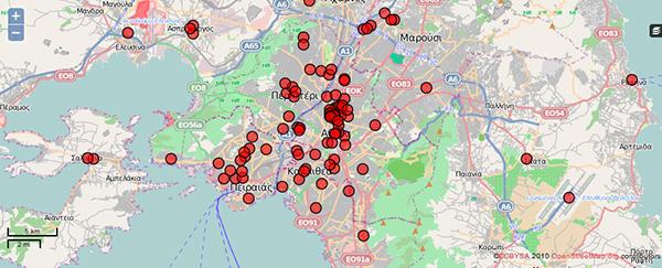 Le violenze contro gli immigrati ad Atene in una mappa