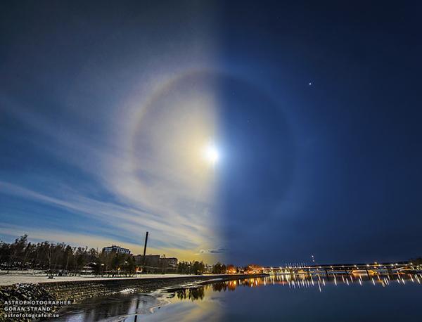 Un'aureola solare e lunare in Svezia