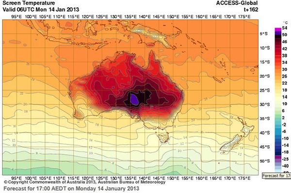 Tabella delle temperature in Australia