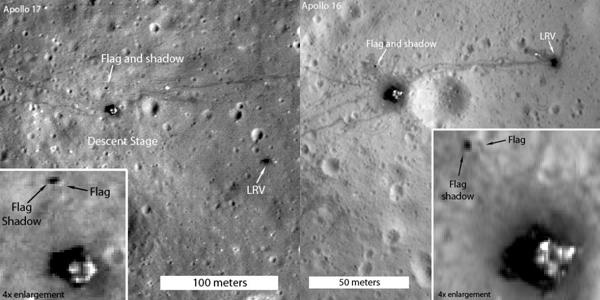 Foto satellitare di un sito dell'allunaggio