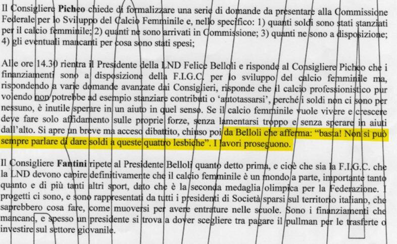 Dichiarazione maschilista del presidente della LND Belloli a verbale