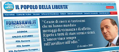 Lo screenshot del sito del PdL con il messaggio di Berlusconi