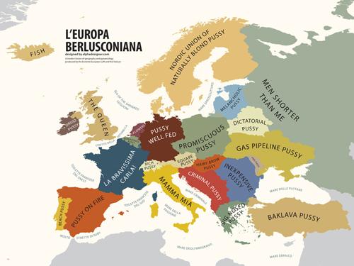 La mappa dell'Europa vista da Berlusconi