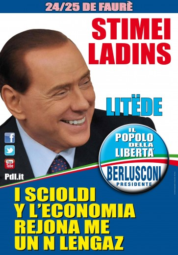 Il manifesto di Berlusconi in ladino