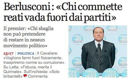 Screenschot del Corriere della Sera