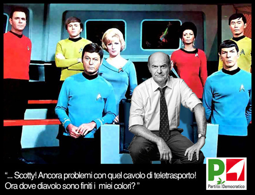 Bersani sul ponte dell'Enterprise