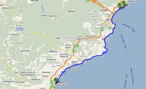 Percorso ciclabile della Savona - Borghetto - Savona 69,1 km