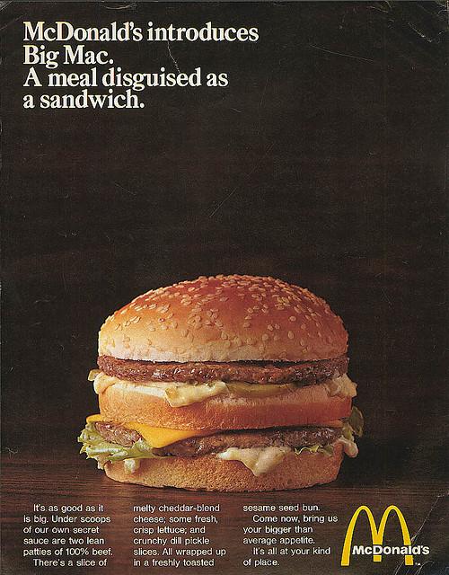 La pubblicità del Big Mac nel 1968
