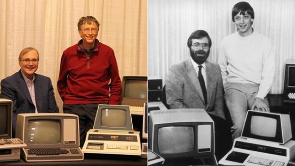 Bill Gates e Paul Allen nel 1982 e nel 2013
