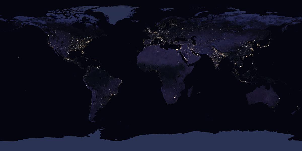 La Terra di notte vista dallo spazio
