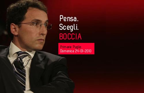 Screenshot dal sito di Bocca, candidato in Puglia: Pensa, scegli, boccia