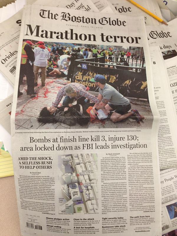 La prima pagina del Boston Globe sull'attentato alla maratona