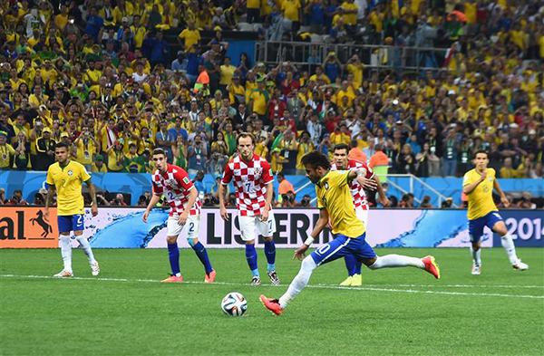 Il primo rigore regalo per il Brasile alla Coppa del Mondo 2014
