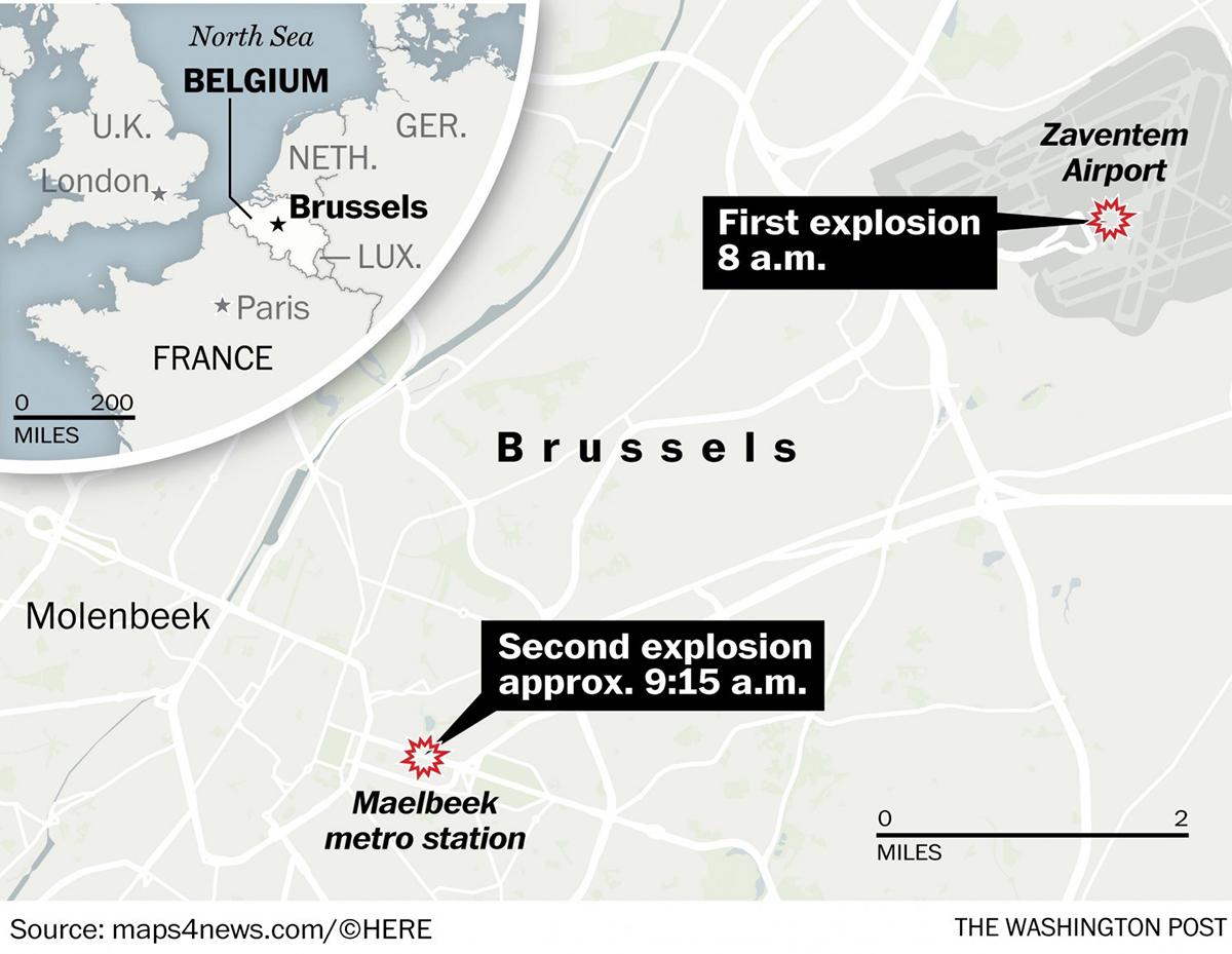 La mappa degli attentati a Bruxelles
