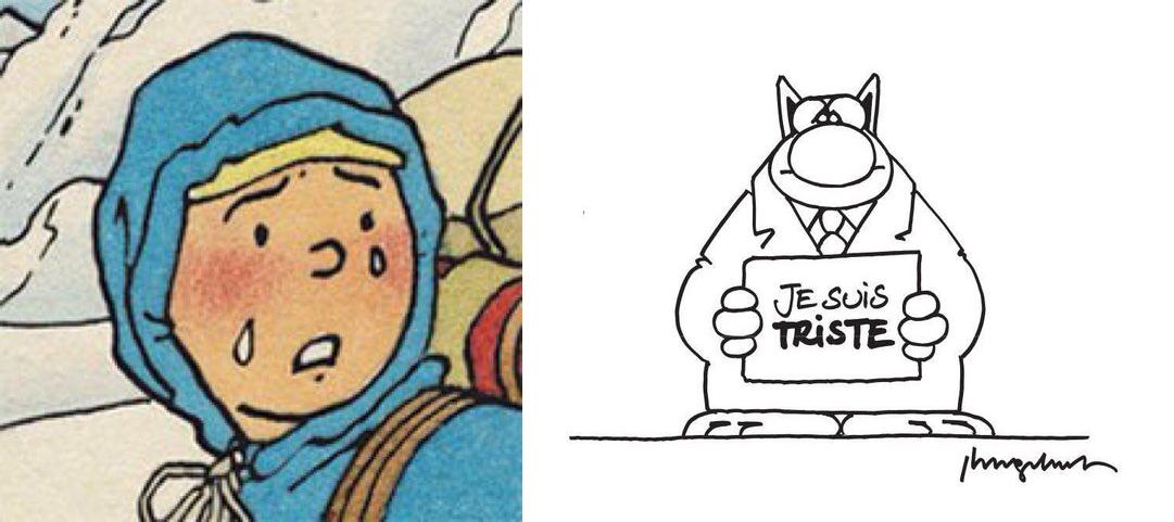 Tintin e Le Chat piangono per gli attentati di Bruxelles