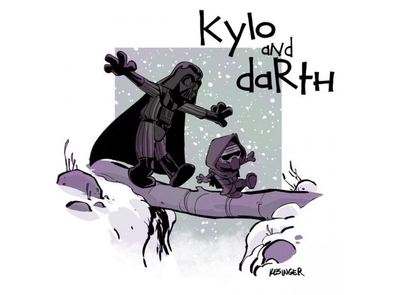 Darth Vader e Kylo Ren disegnati come Calvin and Hobbes
