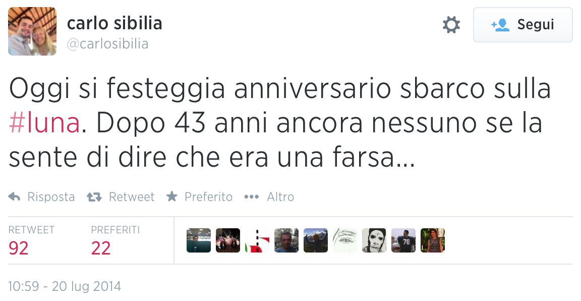 Il tweet sul complotto lunare dell'onorebole Sibilia