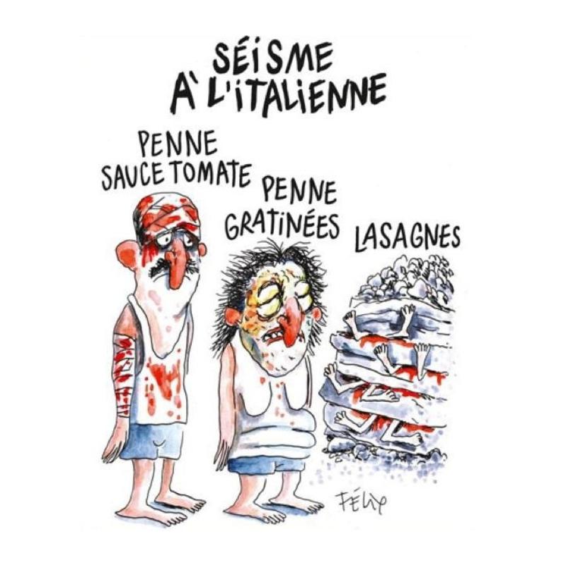 La coprtina di Charlie Hebdo dedicata al terremoto in centro Italia