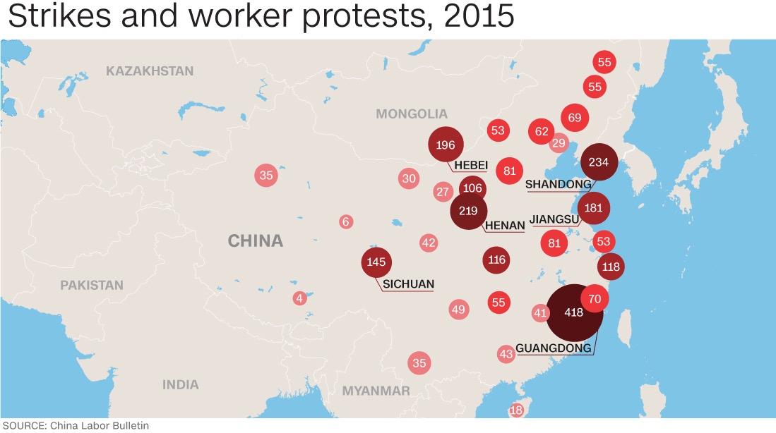 Mappa degli scioperi in Cina