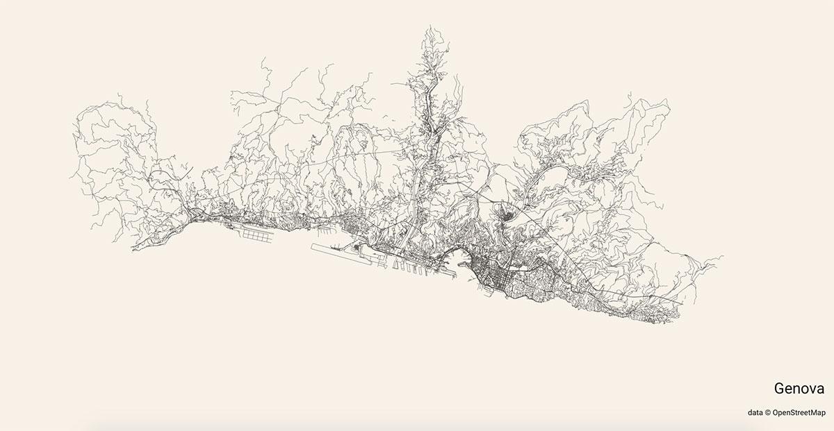 Le strade di Genova mostrate su City Roads