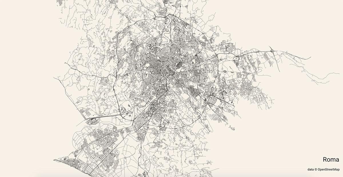 Le strade di Roma mostrate su City Roads