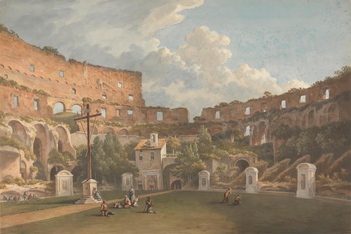 Il Colosseo nel XIX secolo dipinto da John Warwick Smith
