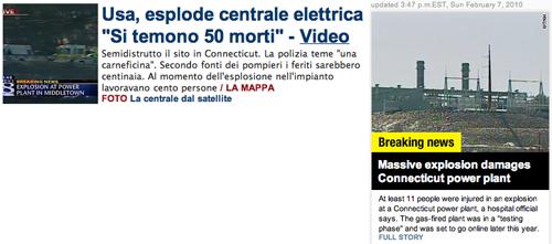 Gli screenshot de La Repubblica e della CNN sull'esplosione in Connecticut
