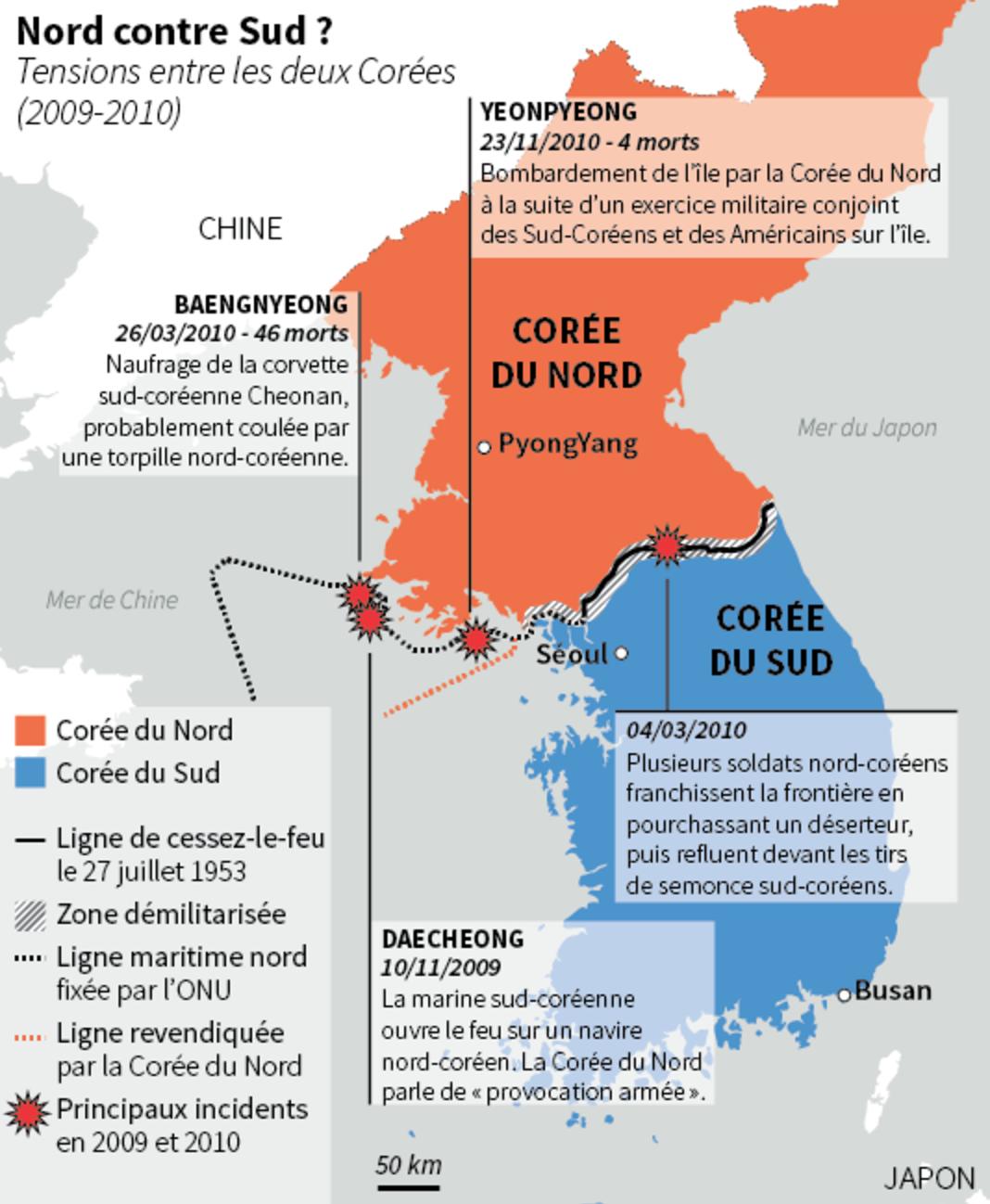 Scontri tra la Corea del Sud e del Nord tra il 2009 e il 2010