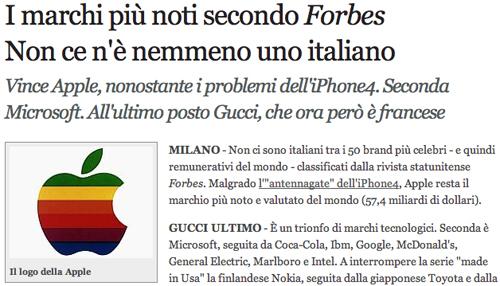 Screenshot del Corriere della Sera con il vecchio logo di Apple