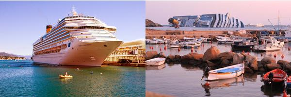 Costa Concordia prima e dopo il naufragio
