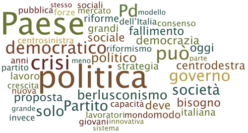 La tag cloud del documento politico di Veltroni sul PD