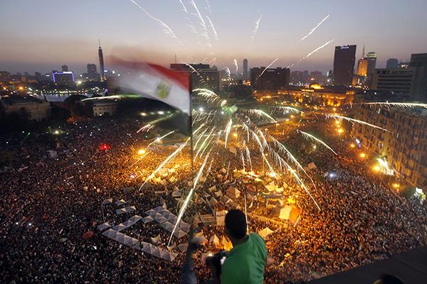 Manifestanti a piazza Tahrir