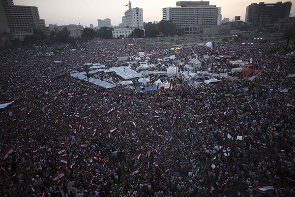 Oppositori del presidente Morsi in piazza Tahrir
