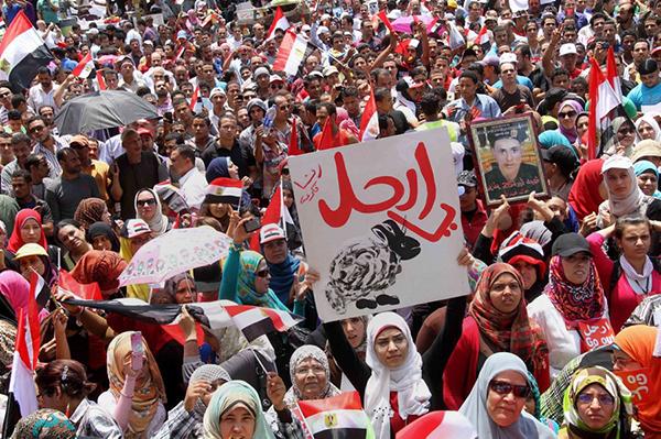 Manifestanti contro il presidente Morsi
