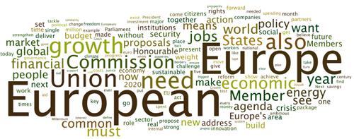 La tag cloud del discorso sullo Stato dell'Unione di Barroso