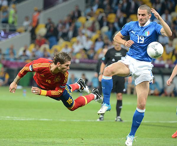Sergio Ramos nella finale di Euro 2012
