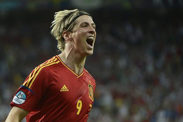 Fernando Torres esulta nella finale di Euro 2012