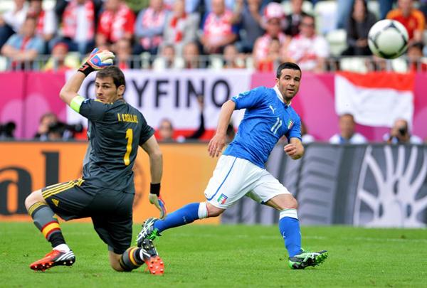 Di Natale segna contro la Spagna a Euro 2012