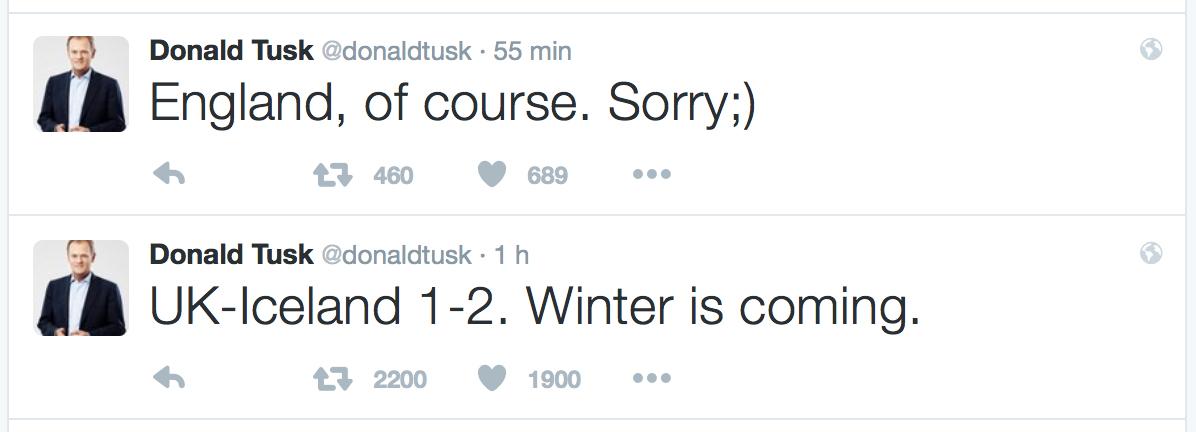 I tweet ironici del presidente Tusk su Inghilterra-Islanda